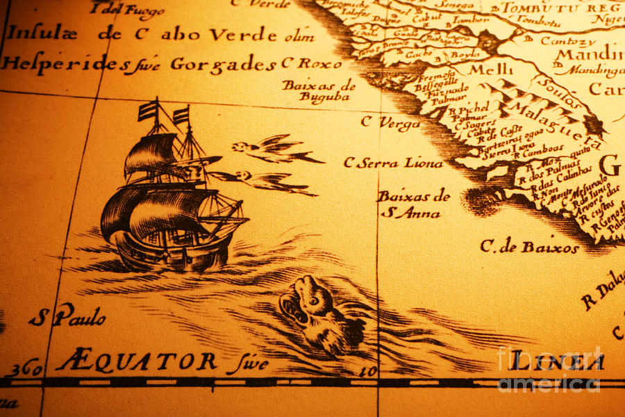 old-map-sea-monster-sailing-ship-equator-africa-colin-and-linda-mckie